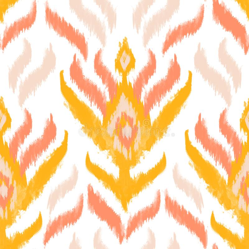 Modèle sans couture de textile d'Ikat Motifs ethniques d'aquarelle : rayures, losange, ornement de fleur illustration de vecteur