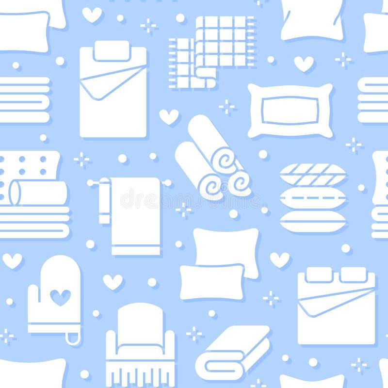 Modèle sans couture de textiles à la maison avec les icônes plates de glyph La literie, toile de chambre à coucher, oreillers, fe illustration de vecteur
