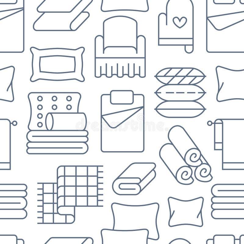 Mod?le sans couture de textiles ? la maison avec la ligne plate ic?nes La literie, toile de chambre ? coucher, oreillers, feuille illustration libre de droits