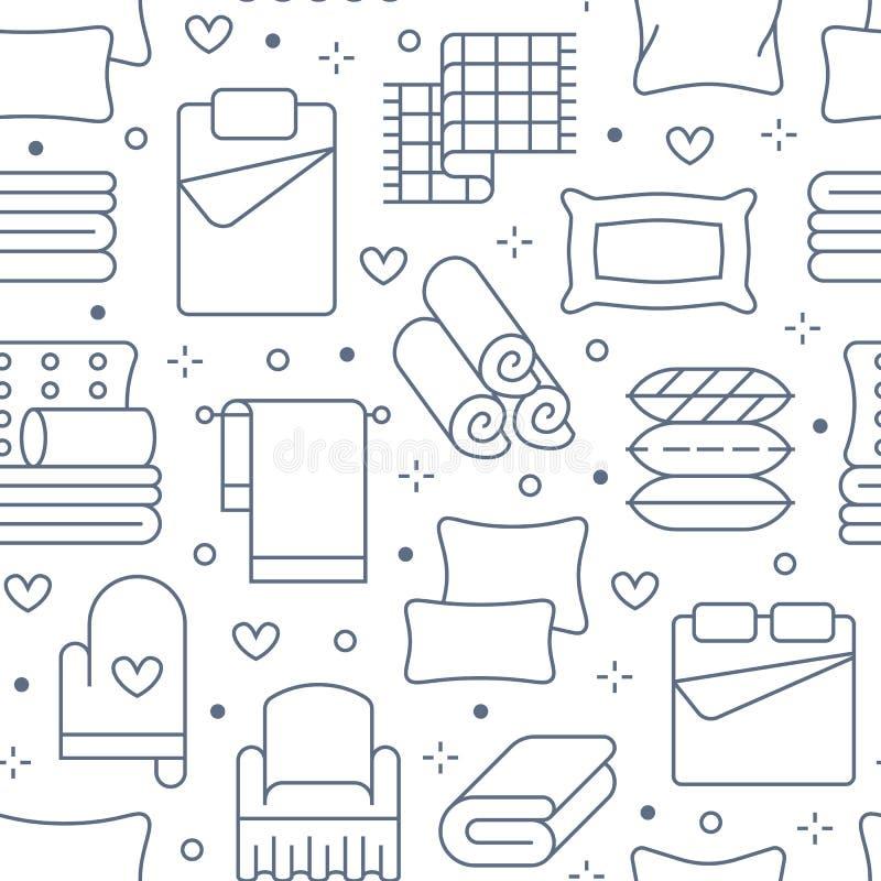 Mod?le sans couture de textiles ? la maison avec la ligne plate ic?nes La literie, toile de chambre ? coucher, oreillers, feuille illustration de vecteur