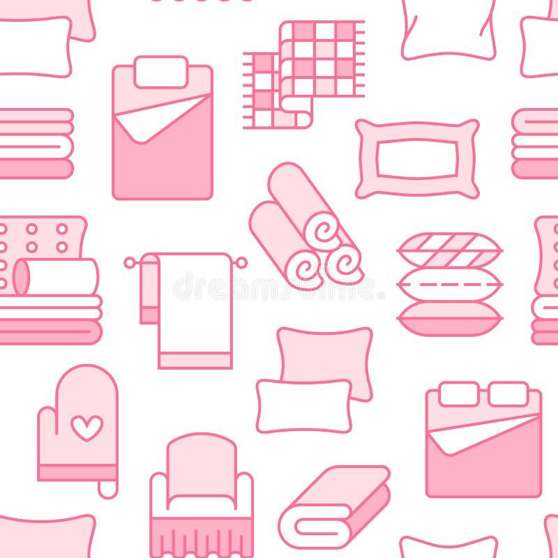 Modèle sans couture de textiles à la maison avec la ligne plate icônes La literie, toile de chambre à coucher, oreillers, feu illustration libre de droits