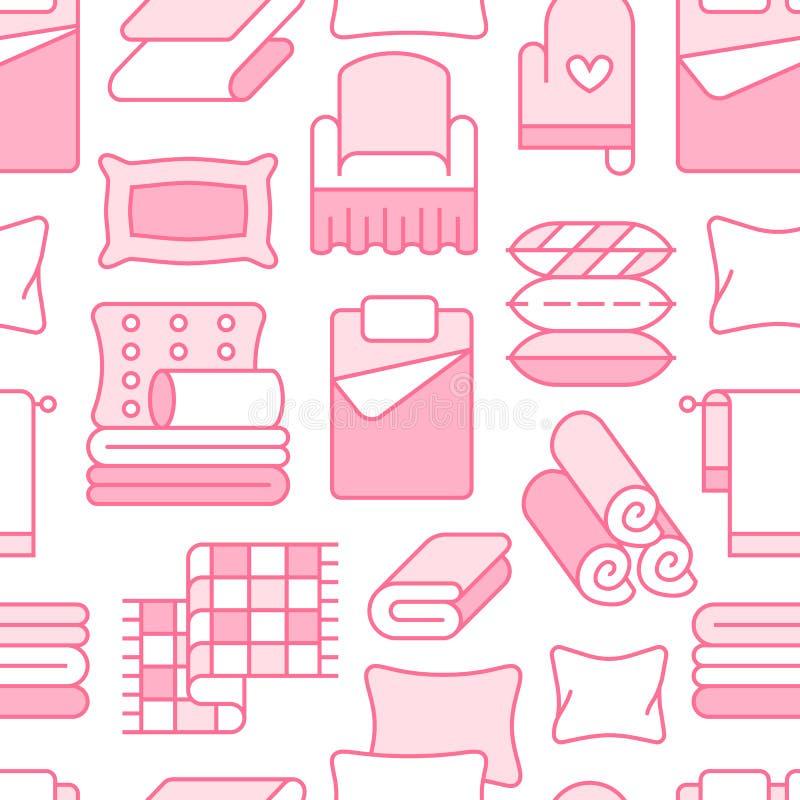 Modèle sans couture de textiles à la maison avec la ligne plate icônes La literie, toile de chambre à coucher, oreillers, feu illustration stock