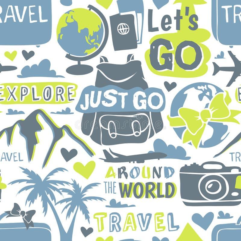 Modèle sans couture de thème de voyage avec l'illustration graphique moderne de vecteur illustration stock