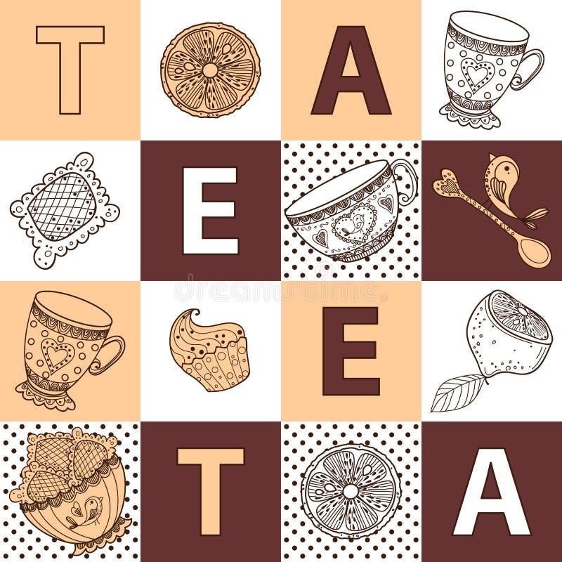 Modèle sans couture de thé de temps toujours d'ensemble de la vie, croquis, griffonnage, aspiration de main illustration de vecteur