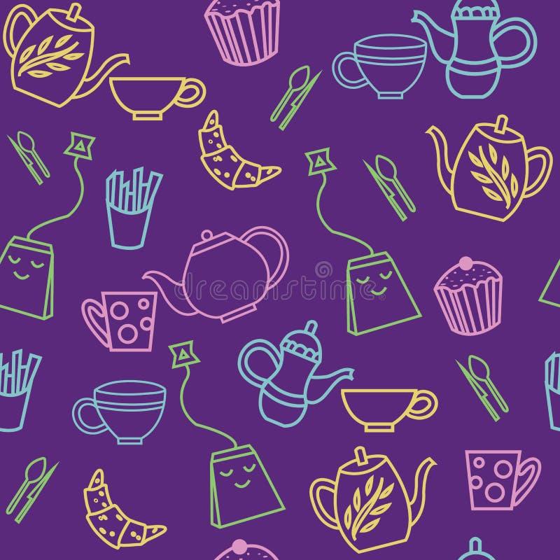 Modèle sans couture de thé mignon de résumé illustration libre de droits
