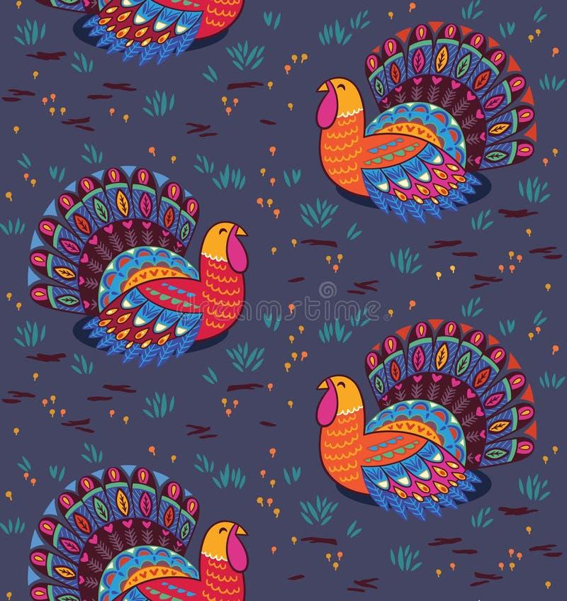 Modèle sans couture de thanksgiving heureux avec la dinde Illustration de vecteur illustration libre de droits