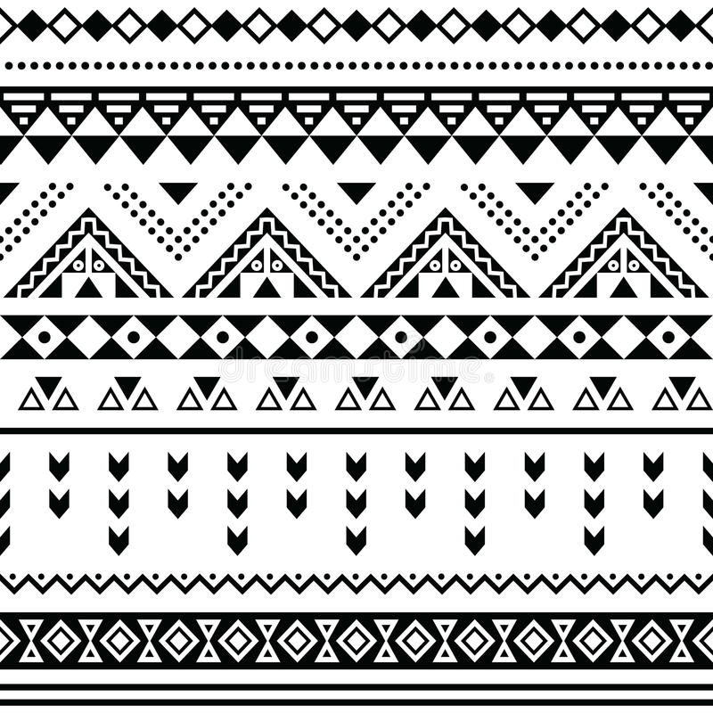 Modèle sans couture de Tibal, noir aztèque blanc de prin illustration de vecteur
