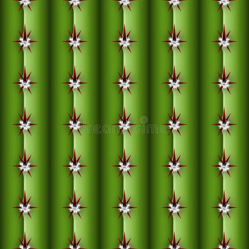 Modèle sans couture de tige de cactus, texture semblable d'usine de cierge illustration stock