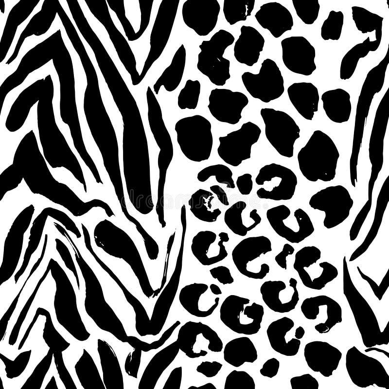 Modèle sans couture de tigre peint par brosse Le léopard noir et blanc barre le fond grunge illustration de vecteur