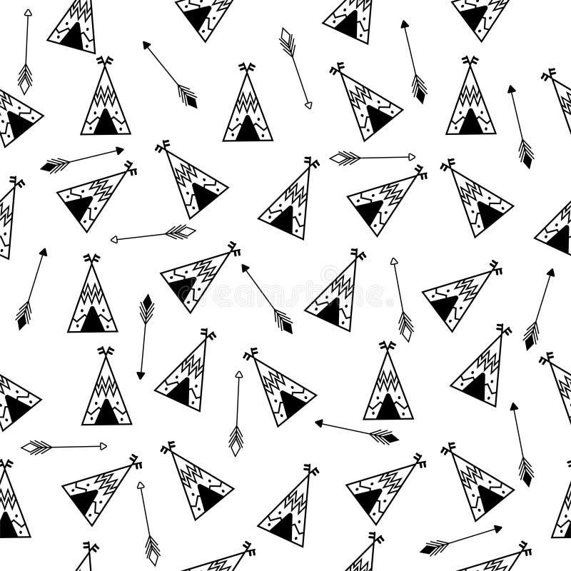 Modèle sans couture de tipi et de flèches Conception répétitive indienne, papier peint de Natif américain, style de griffonnage,  illustration libre de droits