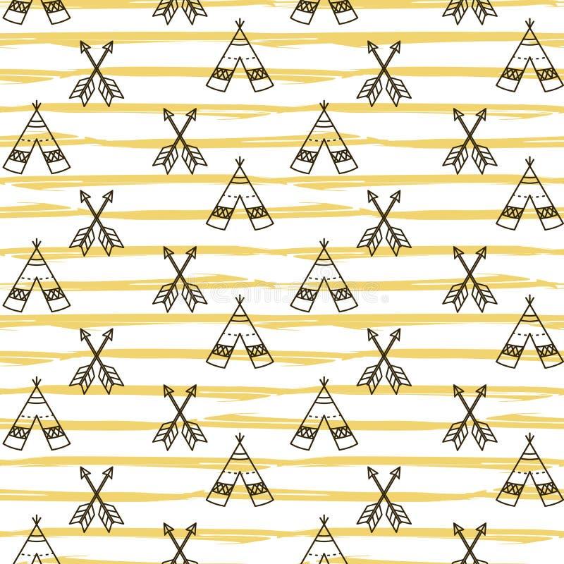 Modèle sans couture de tipi de Navajo de boho illustration libre de droits