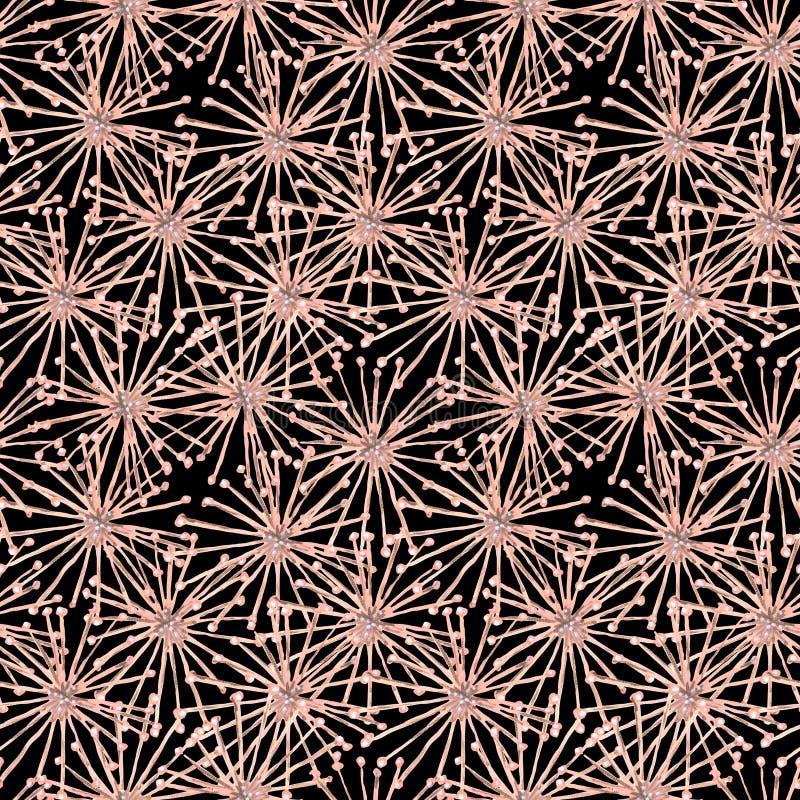 Modèle sans couture de toile d'araignée de gouache de noir surréaliste beige de fleurs illustration libre de droits