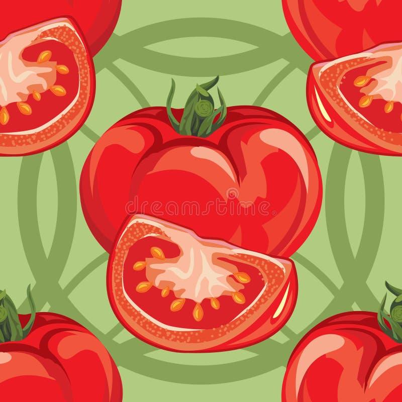 Modèle sans couture de tomate rouge mûre illustration stock