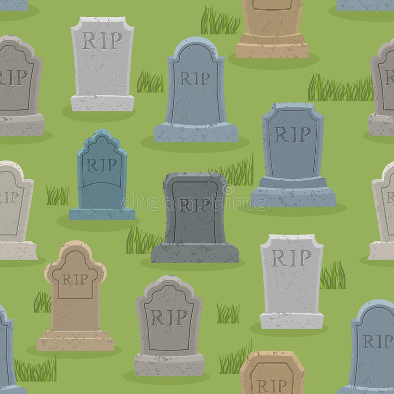 Modèle sans couture de tombe Vieil ornement de pierre tombale Backgro de cimetière illustration libre de droits