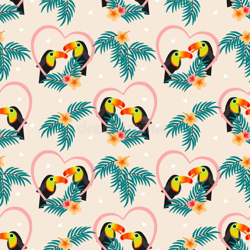 Modèle sans couture de toucan mignon de couples illustration de vecteur