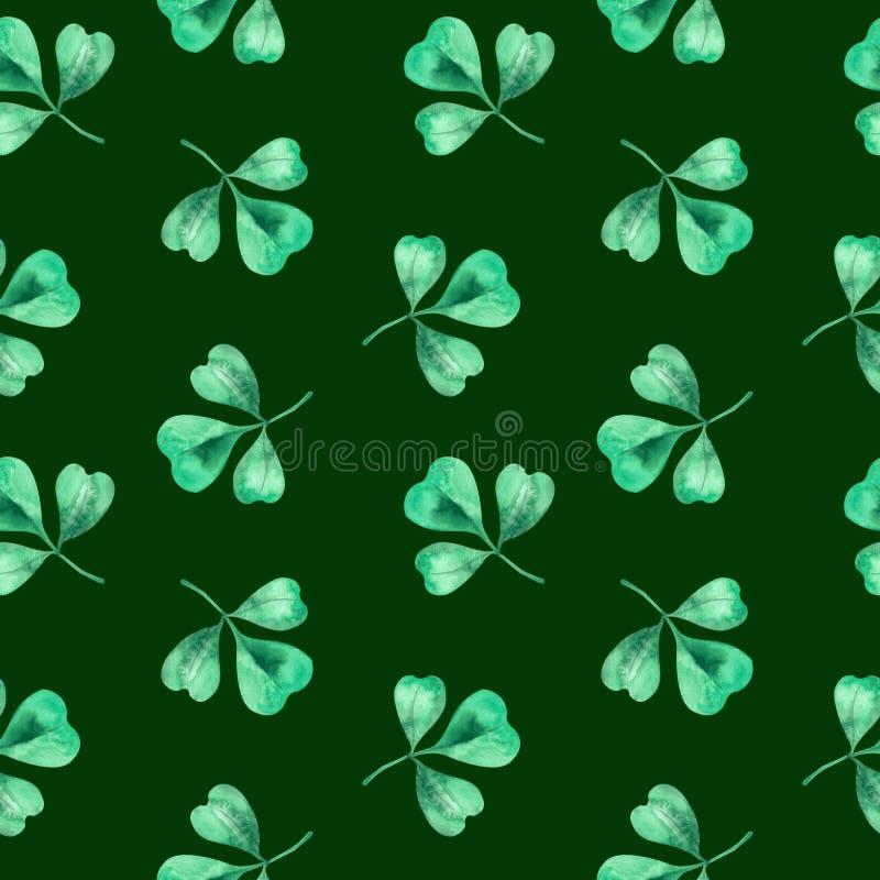Mod?le sans couture de tr?fle d'aquarelle Mod?le de tr?fle avec trois feuilles pour le jour de St Patrick illustration stock