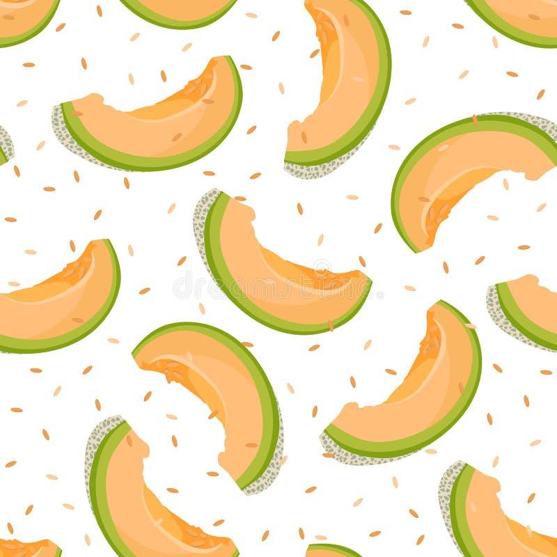Modèle sans couture de tranche de melon sur le fond blanc avec la graine, fond frais de modèle de melon de cantaloup, vecteur de  illustration stock