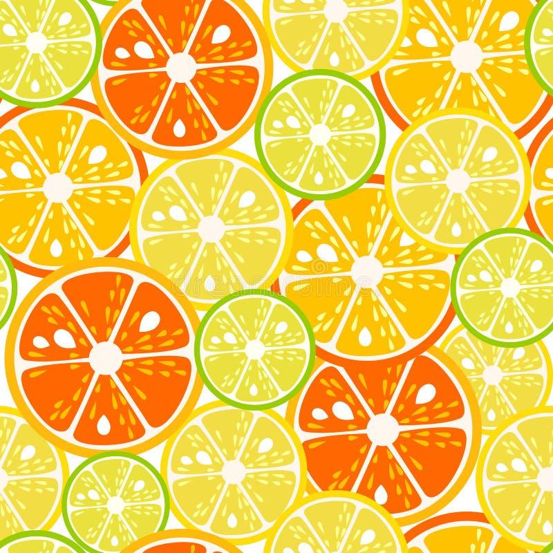 Modèle sans couture de tranches de chaux, de citron et d'orange Illustration de vecteur illustration stock