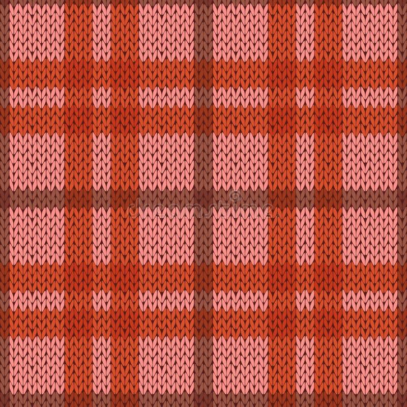 Modèle sans couture de tricotage dans des tonalités roses et oranges illustration de vecteur