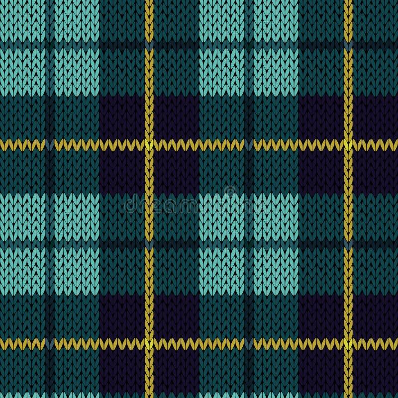Modèle sans couture de tricotage en turquoise, bleu-foncé et jaune illustration libre de droits
