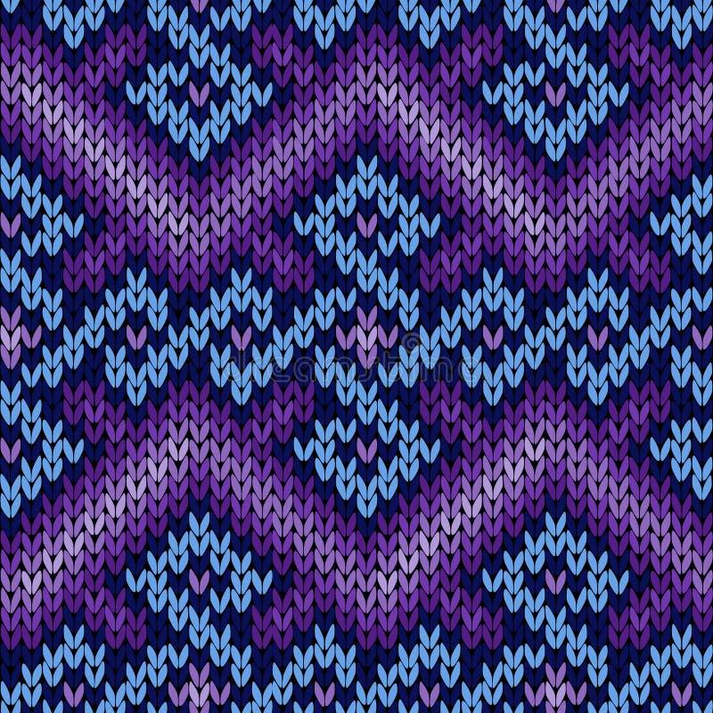 Modèle sans couture de tricotage fleuri dans bleu et violet illustration de vecteur