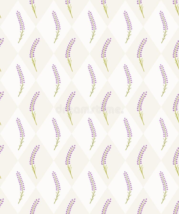 Modèle sans couture de tuile de lavande mignonne Papier peint français illustration libre de droits