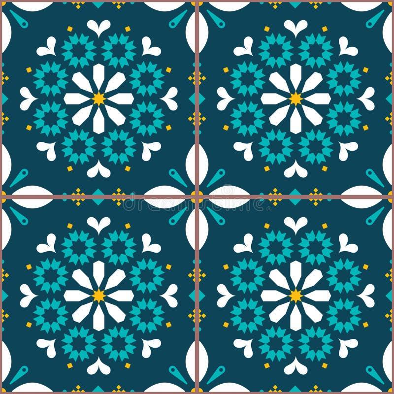 Modèle sans couture de tuiles de vecteur inspiré par art portugais, fond de tuile de style de Lisbonne Azulejo illustration stock