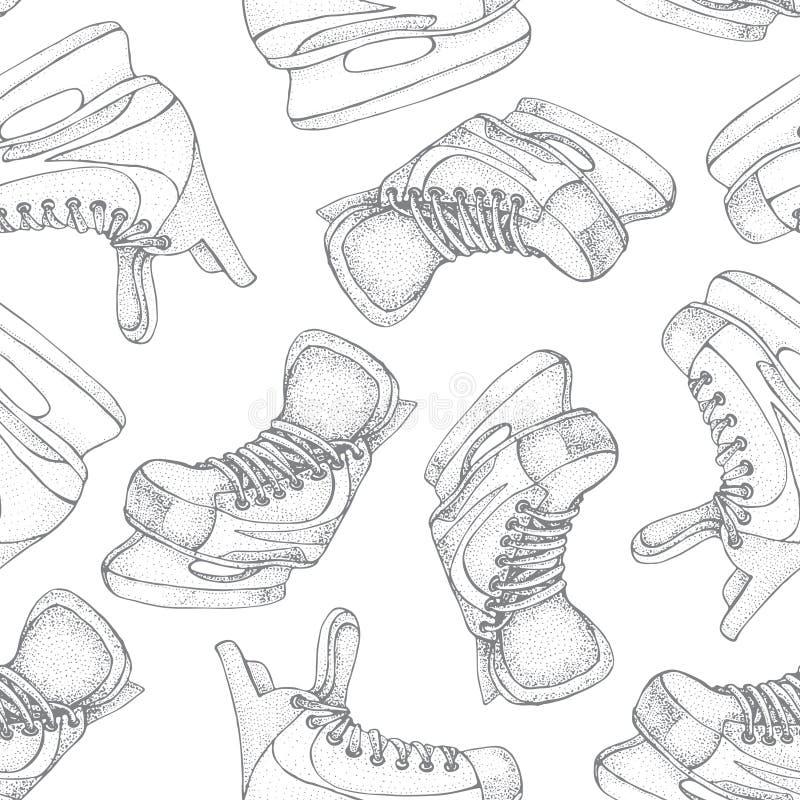 Modèle sans couture de vacances d'hiver avec le croquis de bande dessinée de raies de glace Patins de hockey sur glace Illustrati illustration stock