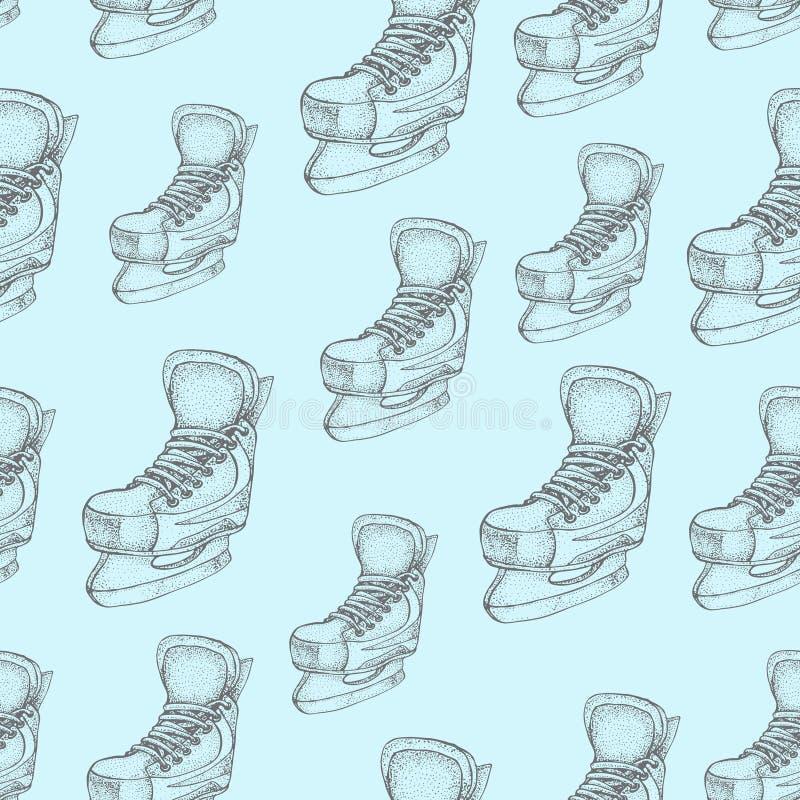 Modèle sans couture de vacances d'hiver avec le croquis de bande dessinée de raies de glace Patins de hockey sur glace Illustrati illustration libre de droits