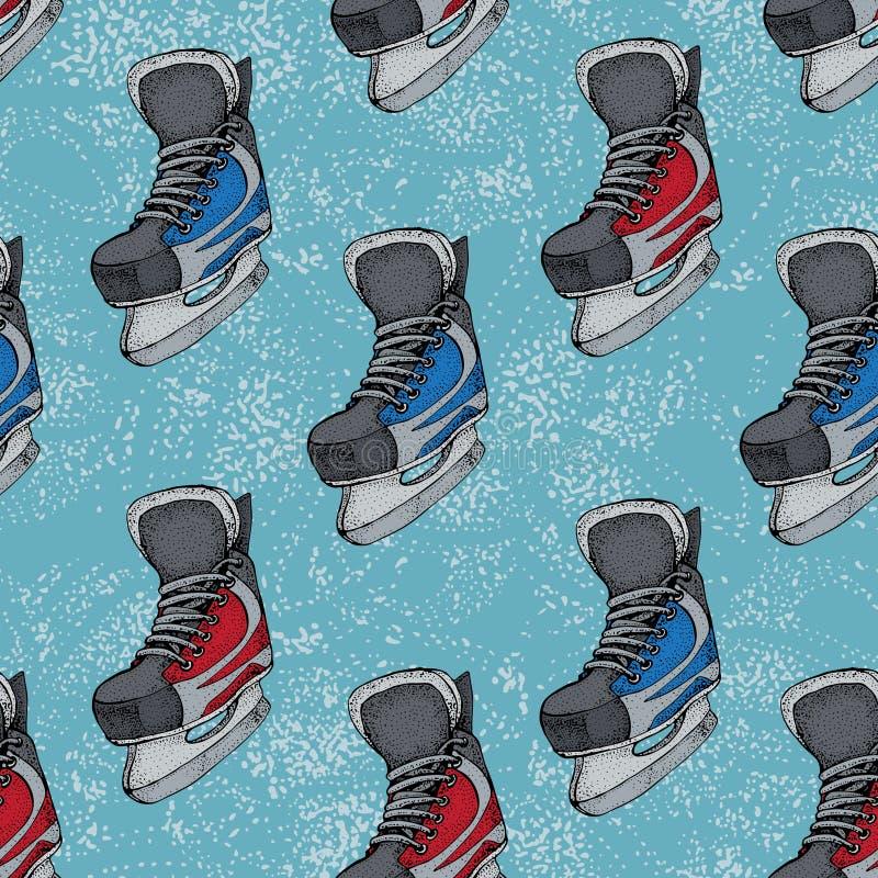 Modèle sans couture de vacances d'hiver avec le croquis de bande dessinée de raies de glace Patins rouges et bleus de hockey sur  illustration stock