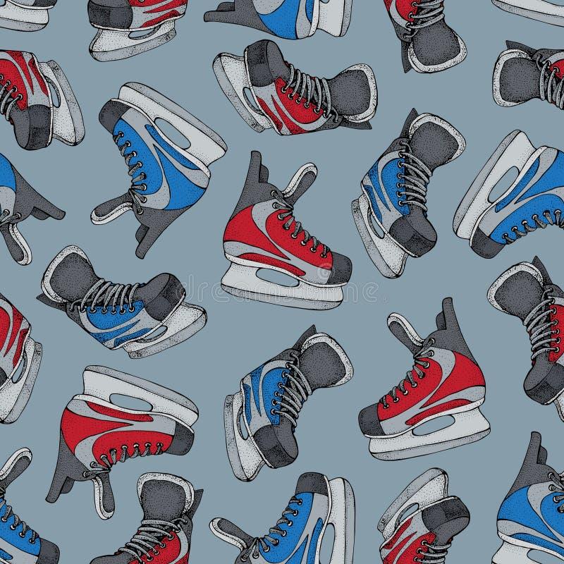 Modèle sans couture de vacances d'hiver avec le croquis de bande dessinée de raies de glace Patins rouges et bleus de hockey sur  illustration libre de droits