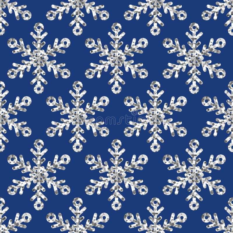 Modèle sans couture de vacances de vecteur avec les flocons de neige argentés de scintillement illustration stock