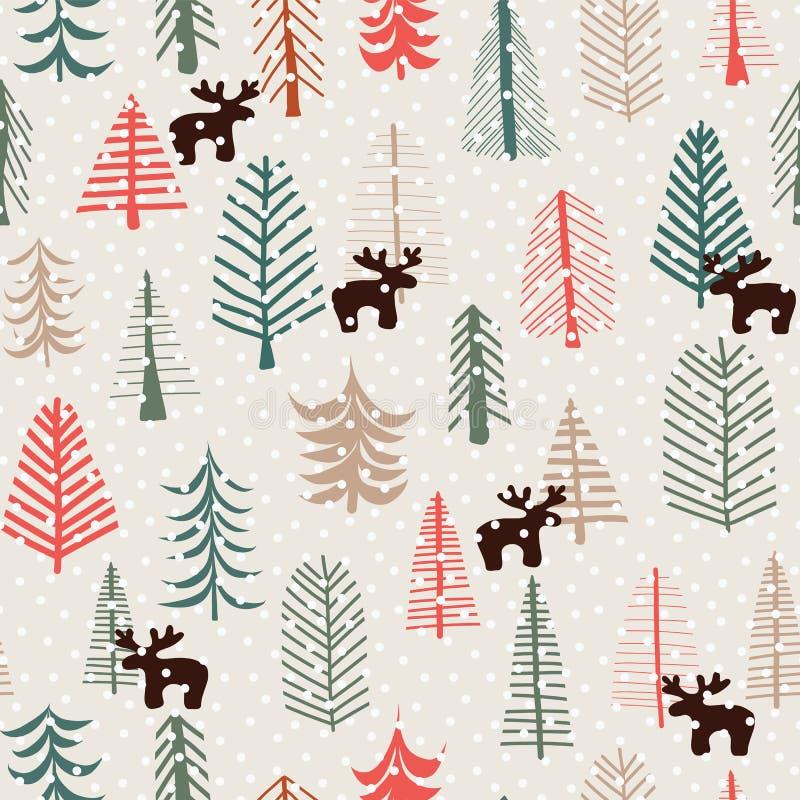 Modèle sans couture de vacances de Noël avec les rennes, les arbres, et les flocons de neige tirés par la main Illustration de ve illustration stock