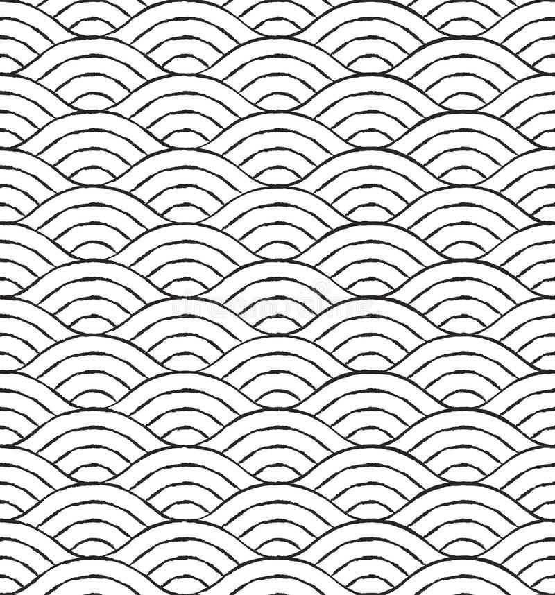 Modèle sans couture de vagues noires et blanches illustration de vecteur
