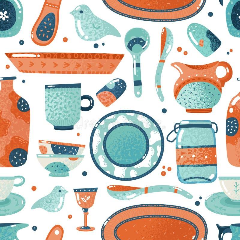 Modèle sans couture de vaisselle Cuisine à la maison d'aquarelle et cuisson du fond en céramique de broc de tasse de plat de cuve illustration de vecteur