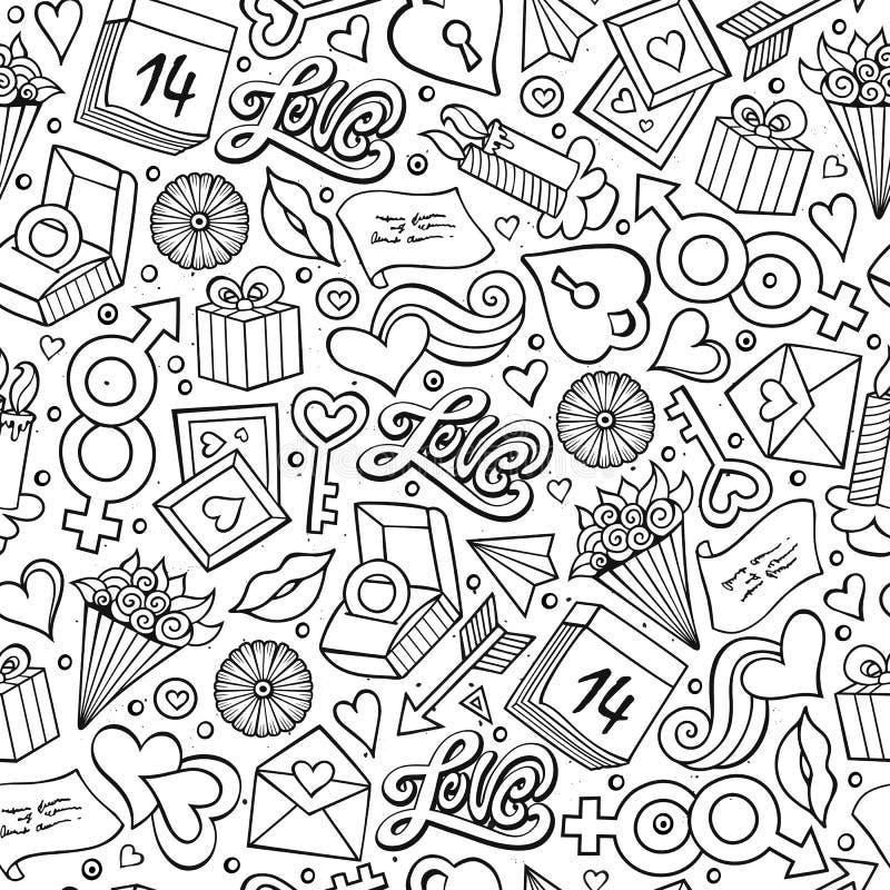 Modèle sans couture de Valentine de bande dessinée de jour tiré par la main mignon du ` s illustration stock