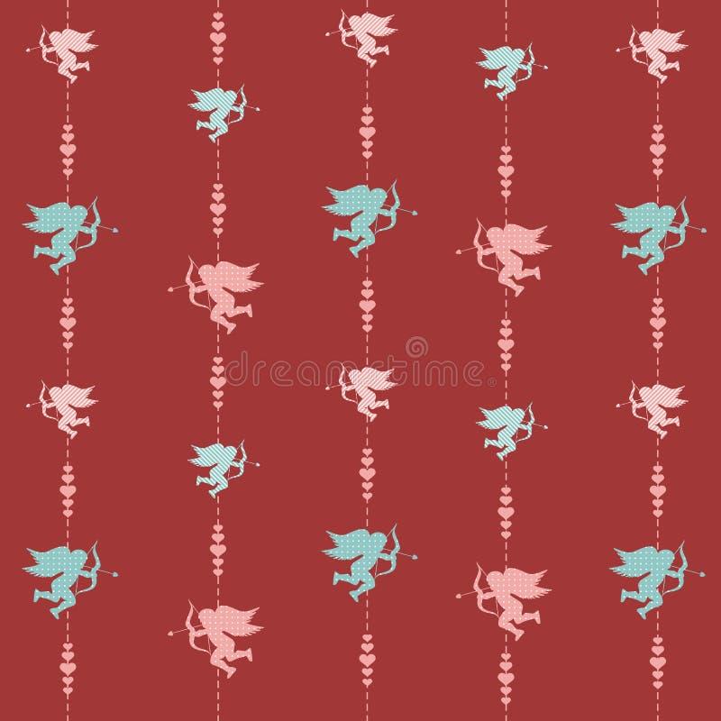 Modèle sans couture de valentine mignonne avec des silhouettes d'amor illustration libre de droits