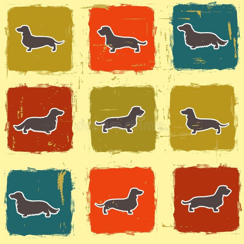 Modèle sans couture de variétés de teckels rétro illustration libre de droits