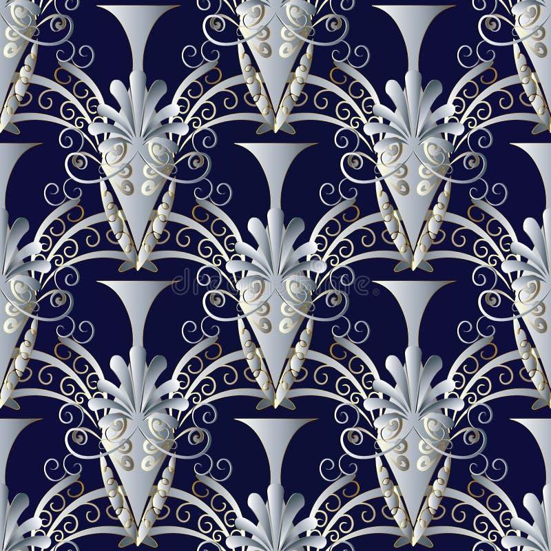 Modèle sans couture de vases grecs antiques Ba floral bleu-foncé de vecteur illustration libre de droits