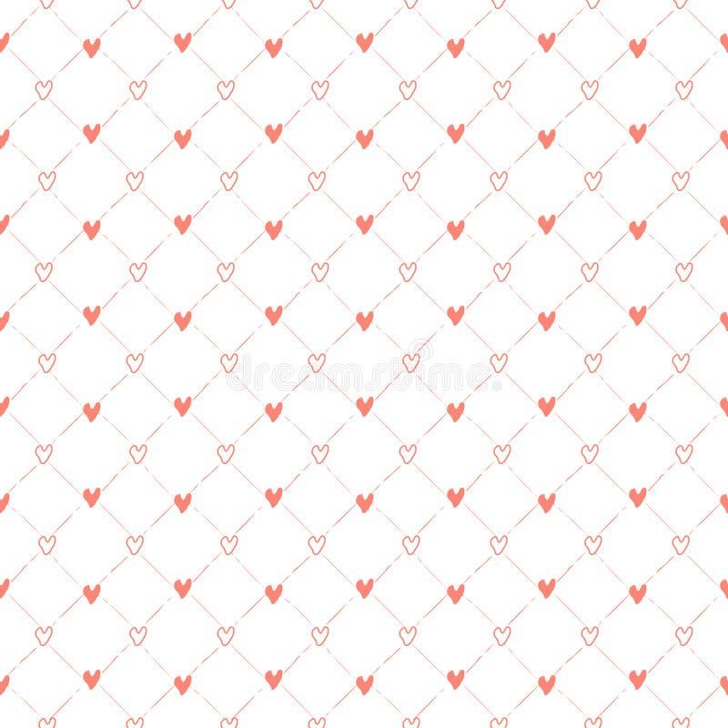Modèle sans couture de vecteur abstrait avec des coeurs Contexte neutre classique E illustration stock