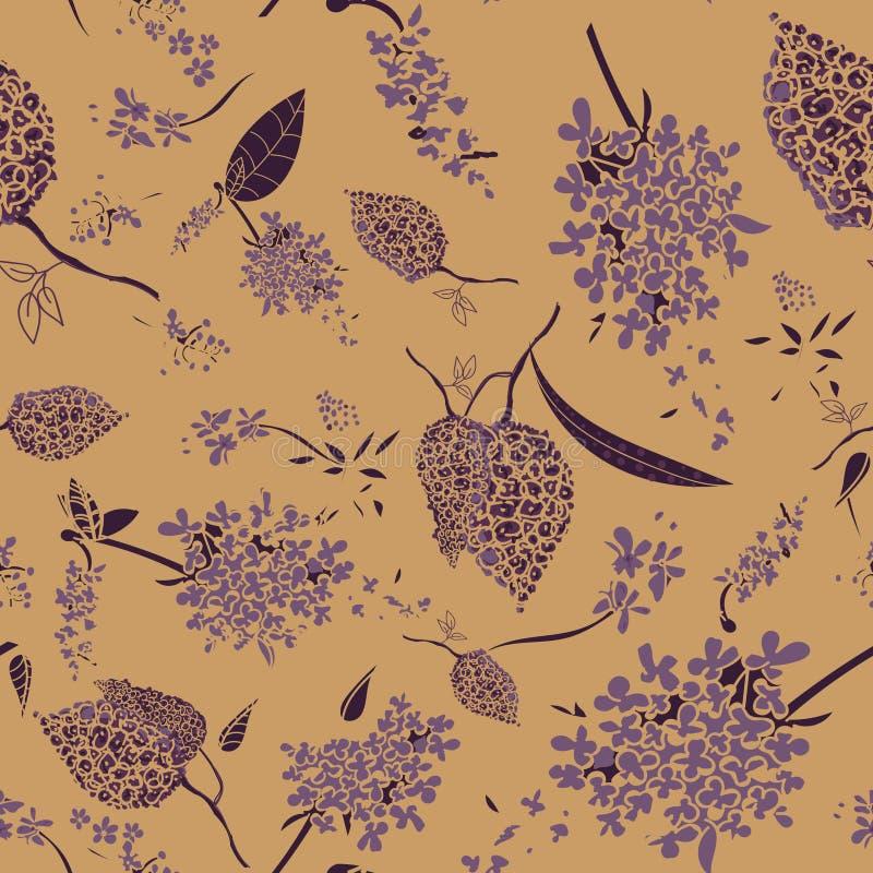 Modèle sans couture de vecteur avec de belles fleurs lilas pourpres illustration libre de droits