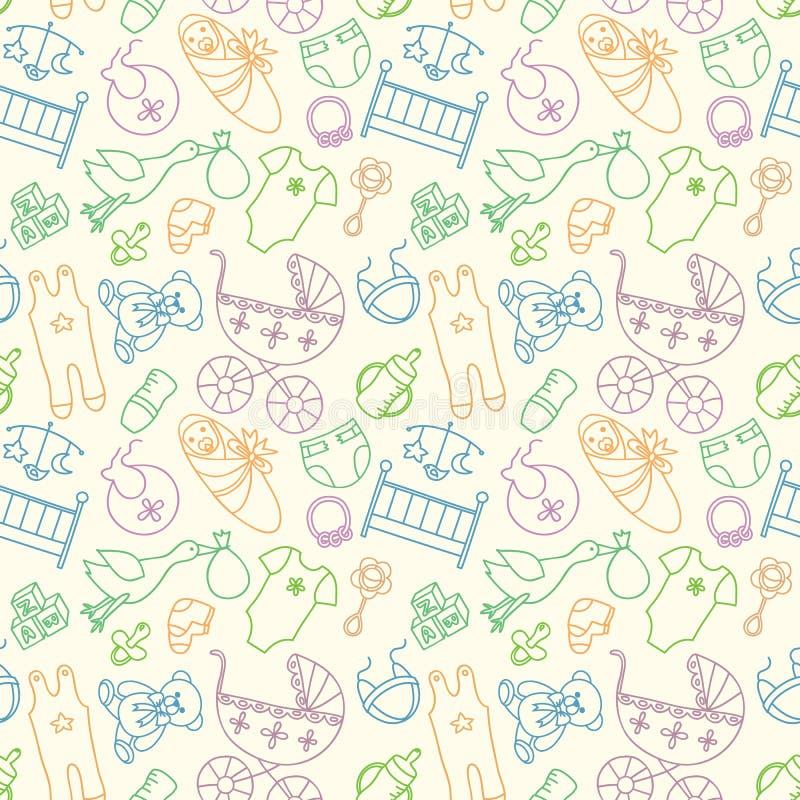 Modèle sans couture de vecteur avec des éléments de bébé Vêtements nouveau-nés et illustration stock