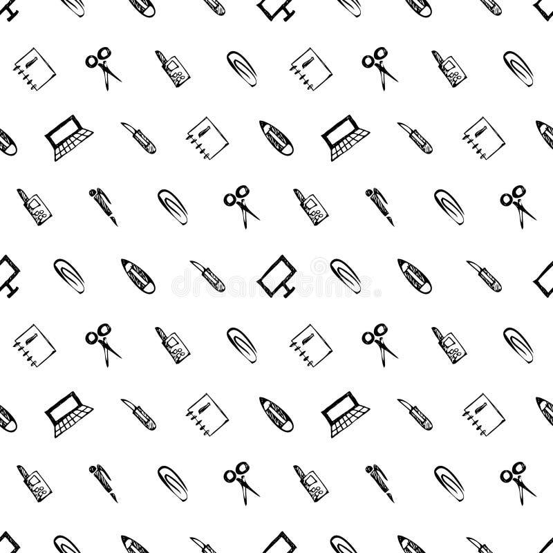 Modèle sans couture de vecteur avec des éléments des fournitures de bureau Fond noir et blanc avec des ciseaux, carnet, ordinateu illustration libre de droits
