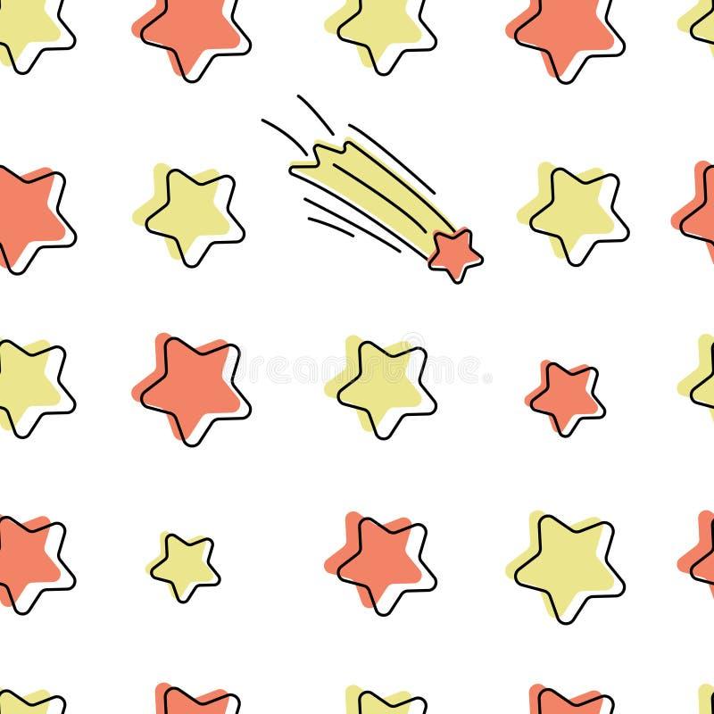 Modèle sans couture de vecteur avec des étoiles de bande dessinée illustration stock