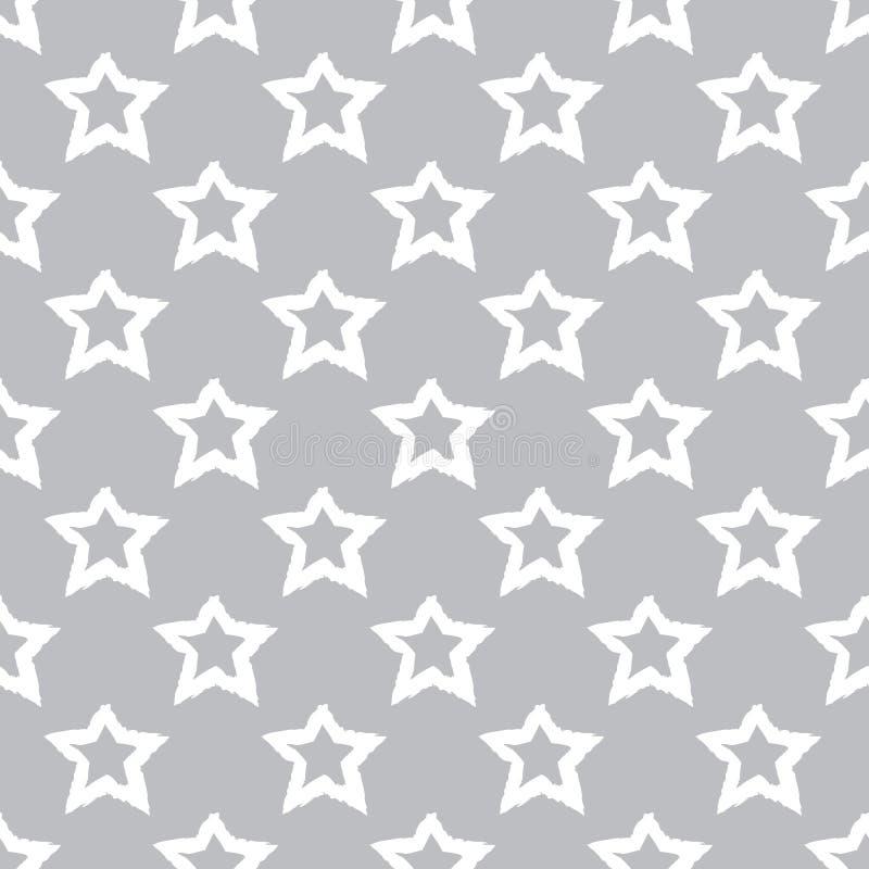 Modèle sans couture de vecteur avec des étoiles sur le fond gris illustration libre de droits
