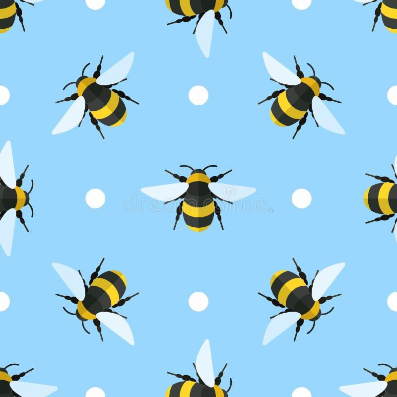 Modèle sans couture de vecteur avec des abeilles et des cercles illustration stock