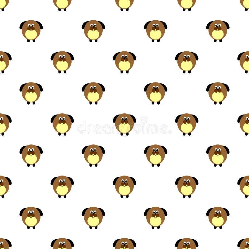 Modèle sans couture de vecteur avec des animaux Fond mignon avec les chiens comiques sur le contexte blanc illustration stock