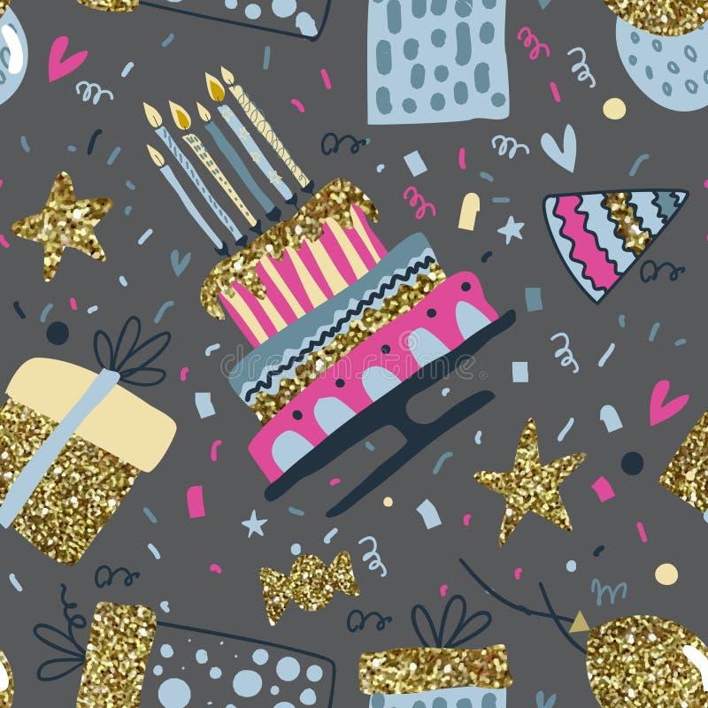 Modèle sans couture de vecteur avec des ballons à air, feux d'artifice, confettis, gâteau d'anniversaire illustration de vecteur