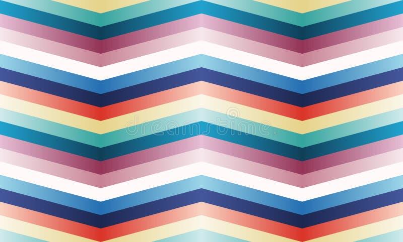 Modèle sans couture de vecteur avec des bandes de zigzag de couleur. photographie stock