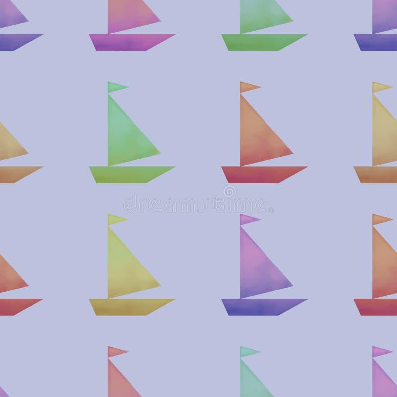 Modèle sans couture de vecteur avec des bateaux d'aquarelle illustration libre de droits